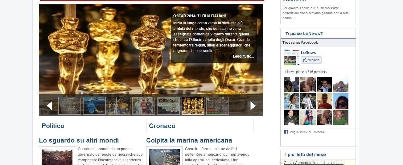 Pagina del sito www.lenews.eu