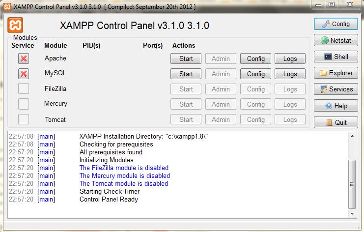 Pannello di controllo di XAMPP