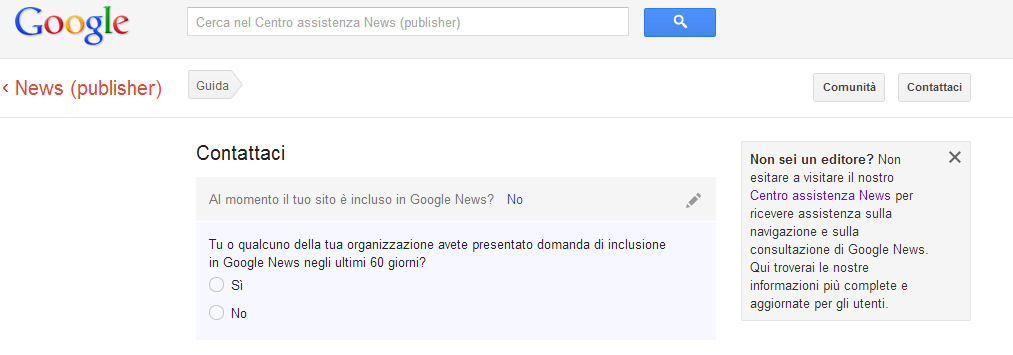 Schermata iniziale modulo Google News