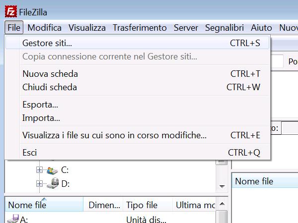 Gestione-siti-filezilla