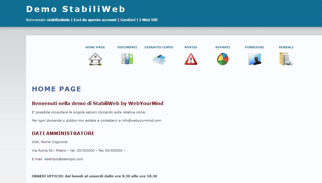 Home page del condominio Demo